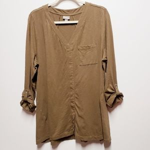 Jill Sz XL Brown Pullover Slub Tunic V-Neck